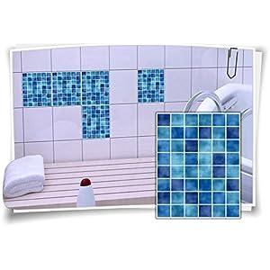 10x15 15x20 20x25 Fliesenaufkleber Fliesenbild Fliesen Aufkleber Mosaik Blau, 12 Stück, 20x25cm
