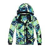 emansmoer Kinder Wasserdicht Baumwolle gepolstert Skijacke WinterSport Outdoor Schnee Snowboard Jacke Mantel (116/122, Blau-Grün(8010))