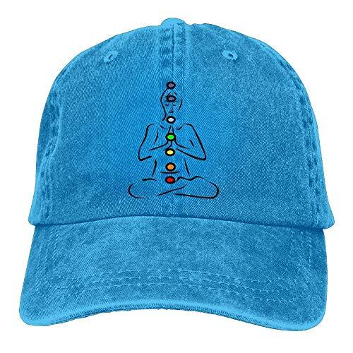 AOHOT Herren Damen Baseball Caps,Hüte, Mützen, Classic Baseball Cap, Seven Chakra Symbols Denim Baseball Caps Hat Adjustable Cotton Sport Strap Cap for Men Women (Chakra Platte)