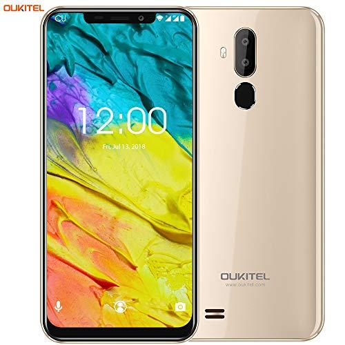 "OUKITEL C12 Smartphone Libre, 6.18\"" HD 19:9 IPS Pantalla, Quad-Core 2GB RAM+ 16GB ROM, 3G Android 8.1 Dual SIM Teléfono móvil,Cámara 8MP+5MP,3300mAh,Face ID (Oro)"