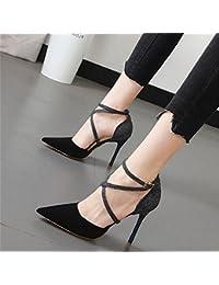 Xue Qiqi Sugerencia tira transversal detalle con sandalia pegar la luz coloreada con elegante de alta Heel Shoes...