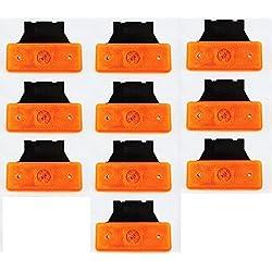 Lot de 10 Feux de Position Signalisation à 4 LED avec Supports en Caoutchouc pour Camion/Camion Benne/Caravane/Remorque - 24 V - Orange