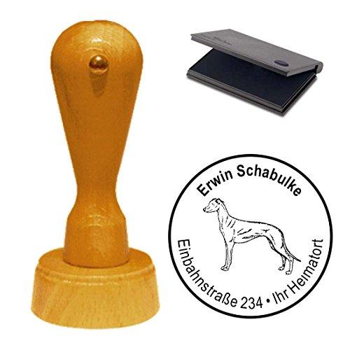 Stempel mit Kissen « GREYHOUND WINDHUND » Hund Haustier -