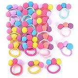 24pcs Gomas del Pelo Niña con Pompones Lazo de Pelo Multicolor Coleteros Elásticos para Niña Bebé (2cm, diámetro de pompones)