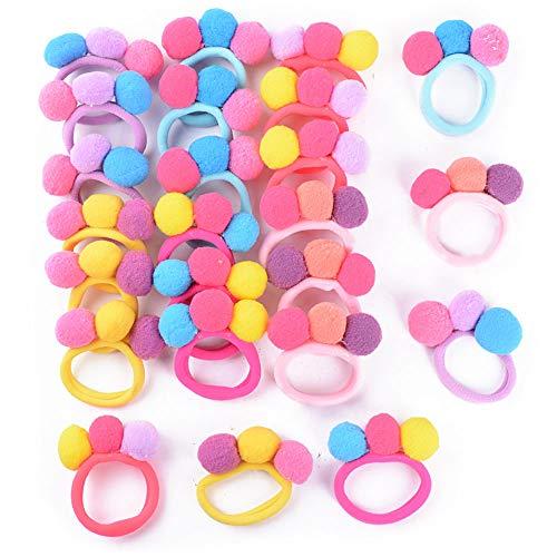 24pcs Gomas Pelo Niña Pompones Lazo Pelo Multicolor