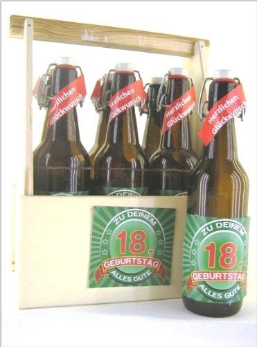 6er Bierträger aus Holz zum 18. Geburtstag, Das ideale Geschenk.