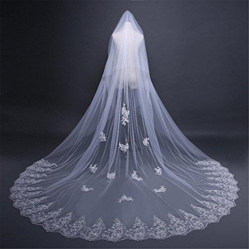 Veil3 di nozze * 3,8 m europeo morbido e sottile sezione lunga della grande coda con un capello con un velo accessori per la cerimonia nuziale velo , a
