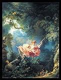 Jean-Honoré Fragonard Poster Kunstdruck und MDF-Rahmen Schwarz - Die Glücklichen Zufälle Der Schaukel, 1767 (80 x 60cm)
