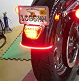 Universal Flexible 32LED Motorcycle Light Strip Tail Brake Stop Turn Signal Light License Plate Lamp 8' Red and Amber Led Color