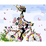 Dipinto con Numeri Kit con Spazzole e Pigmento Acrilico Pittura Fai da Te per Principianti Adulti - in Sella a Una Bicicletta Butterfly 16×20 Pollici Senza Telaio