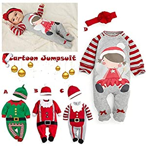 Baby Christmas Onesies – Ropa para niños Mono de algodón Manga Larga de Dibujos Animados con Forma de Mameluco Ropa con Traje de rastreo