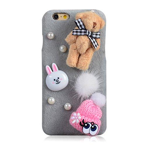Coque iPhone 7, Lifetrut [Absorption des chocs] Sac à main noir décoré Fluffy Furry Snap Hard Case Retour Housse en peluche pour iPhone 7 [Sac à main noir] E204-Bear Bunny