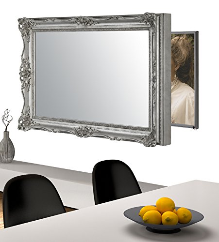 Handmade Framed Mirror to Turn Your Existing TV to Hidden Mirrored Television that Blends into Your Home or Business Decor (40 Inch, Surrey Silver)