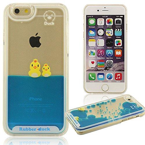 Fließenden liquid Stil iPhone 6 Plus Hülle, kleine gelb Ente, Rubber Duck, Schwimmen Ente Serie, Hübsch niedlich Schutz- handy tasche schutzhülle Sehr schwer Sehr klar transparent Case Cover für iPhon B