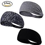 KQueenStar Sport Stirnband für Frauen Lady - Headband Schweißband für Yoga, Radfahren, Laufen, Fitness, Fahrrad (Stirnband-3Stück)