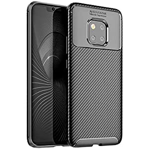Golden Sand Compatible with Huawei Mate 20 Pro Case Back Cover Aramid Carbon Fibre Shockproof TPU (Mate 20 Pro Mobile Case) Black -Ultimate Protection