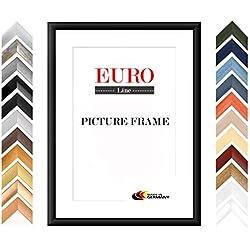EUROLine35 Bilderrahmen nach Maß für 15 cm x 22 cm Bilder, Farbe: Schwarz Matt, MDF Holzrahmen Maßanfertigung inkl. entspiegeltem Acrylglas und MDF Rückwand, Rahmen Breite: 35 mm, Außenmaß: 20,8 cm x 27,8 cm