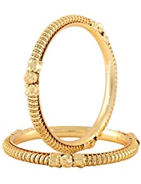 Jewels Galaxy Exclusive Traditional Gold Plated Bangles - Set Of 2