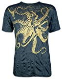 Sure T-Shirt Herren Riesen Krake Oktopus Taucher Shirt Sommer Party Club (Schwarz-Gold M)