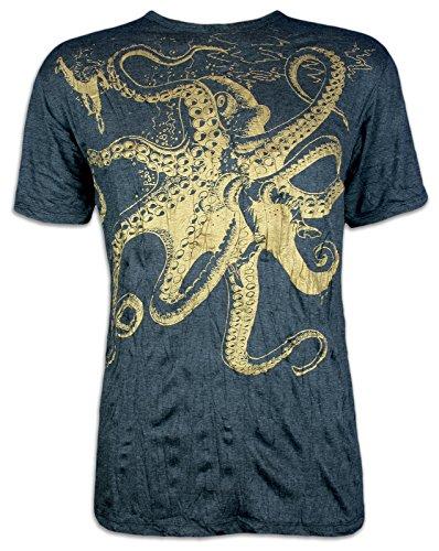 Riesen Xl T-shirt (Sure T-Shirt Herren Riesen Krake Oktopus Taucher Shirt Sommer Party Club (Schwarz-Gold XL))