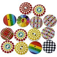 100pcs Madera botón/botones para costura y manualidades artesanía Ver. Formas