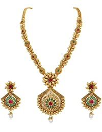 Reeva Copper Long Necklace Set With Pearl Drop And Colourful Stones For Women