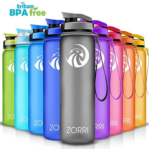 ZORRI Sport Trinkflasche auslaufsicher, BPA Frei & Umweltfreundlich Wasserflasche Für Kinder & Frauen, One Handed Open & Tritan, Für Gym/Outdoor/Camping - Grau - 800ml