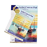 #7: Kurtzy A3 & A4 Cotton Canvas Easel Sheets Artist Pad Plain Drawing for Coloring Oil Acrylic Painting 10 Sheets