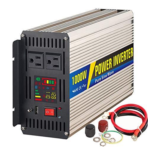 1000 W/2000W Peak Power Inverter DC À AC 12V À 110/220V Convertisseur De Voiture Avec USB AC Socket LCD Display,12/110V