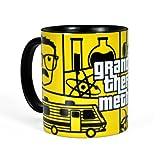 Breaking Bad - taza de Grand Theft Meth - para forofos de la serie de televisión - con Heisenberg y el Sr. White