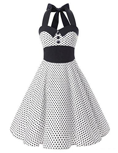 VKStar® Retro kleider 50er 60er Damen Abendkleider mit Tupfen ...