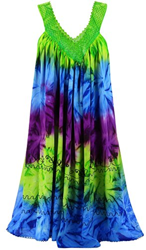 Charleselie94® - Robe été ample bohème grande taille vert NADEA VERT Vert