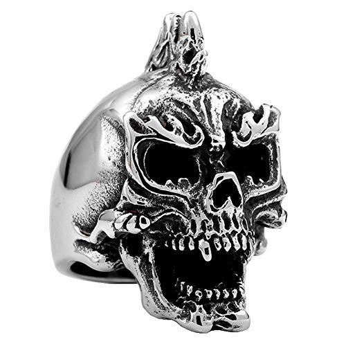 XNCBM Schmuck Edelstahlmens Gothic Band Ringe Silber Schwarz Teufel Scary Halloween Schädel Radfahrer Ringe