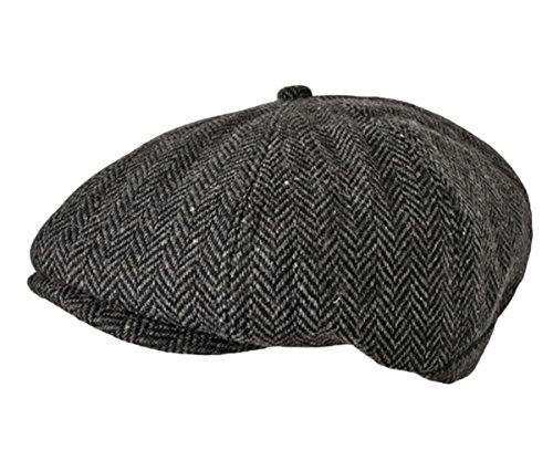 TOSKATOK® Unisex Herren, Damen 8-Panel mit Fischgrätmuster Wollmischung Baker Boy Schirmmutzen (Mit Fischgrätmuster Wolle)