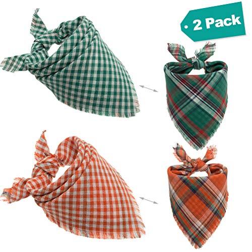 EXPAWLORER 2 pañuelos para Perros con Flecos, Lavables, con Estampado Reversible de pañuelos para Perros y Gatos, Color Naranja y Verde