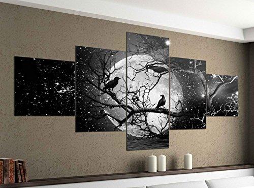 Foto en Lienzo 5 piezas 200cmx100cm luna llena Cuervo árbol de Halloween Negro Blanco Imágenes Impresión en Lienzo Imagen Impresa ARTÍSTICA DE VARIAS PARTES madera 9ya1483-5Tlg 200x100cm