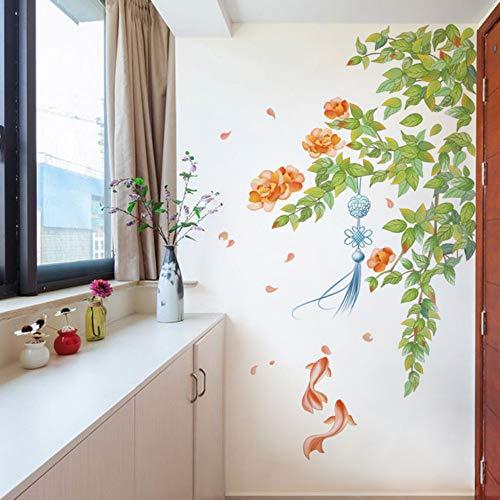 DIY Blumen und Goldfisch Kunst Wandaufkleber Fringe Chinesischen Stil Elegante Wohnkultur Damen Raumdekoration Zebra Fringe