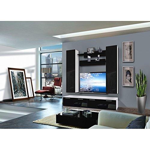 AC-Déco Ensemble Meuble TV Murale - Ledge I - 2 vitrines - Blanc et Noir