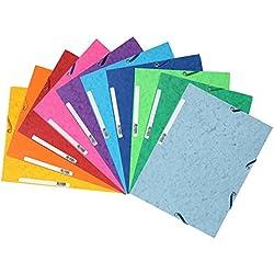 Exacompta 55510E - Carpetas con gomas y 3 solapas de cartulina lustrada, A4, 10 unidades, colores surtidos