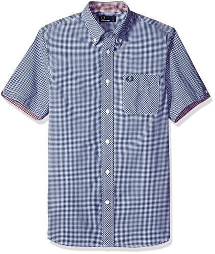 Fred Perry Authentics Classic Gingham Short Sleeved Shirt MEDIEVAL BLUE Large