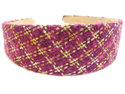 rougecaramel - accessoires cheveux - Serre tête/headband large laine matelassé - framboise