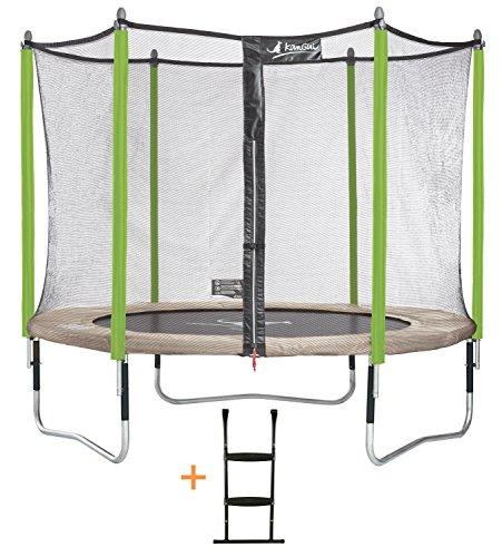 Kangui - Trampoline de jardin Ø 305 - 360 - 430 cm + filet de sécurité + échelle JUMPI ZEN