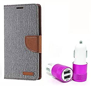 Aart Fancy Wallet Dairy Jeans Flip Case Cover for Asuszen-5 (Grey) + Dual USB Port Car Charger with Smartest & Fastest Technology by Aart Store.