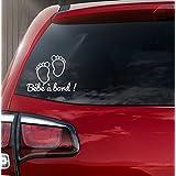 """Sticker autocollant vinyle""""bébé à bord"""" petits pieds de bébé REF 2"""