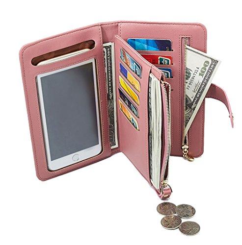 Reise-Geldbörse Reisepasshalter Handyfach Leder Handtasche Schutzhülle geräumig Kreditkarten-Etui Reißverschluss Tasche Pink - Rfid-reise-geldbörse Hals