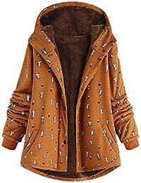 ITISME Manteaux Femmes Hiver Grande Taille Encapuchonné Manche Longue  Molleton Vintage Dames Épais Impression Manteau Zipper d84be8e75e14