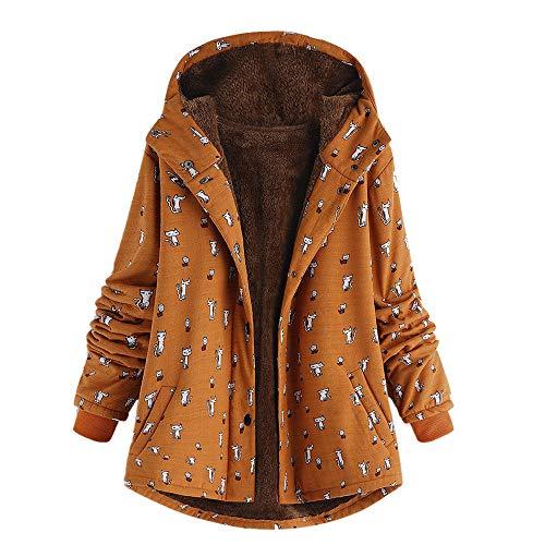 iHENGH Damen Winter Jacke Dicker Warm Bequem Slim Parka Mantel Lässig Mode Frauen Outwear Katze Print Kapuzen Taschen Vintage übergroßen Coat(Orange, ()