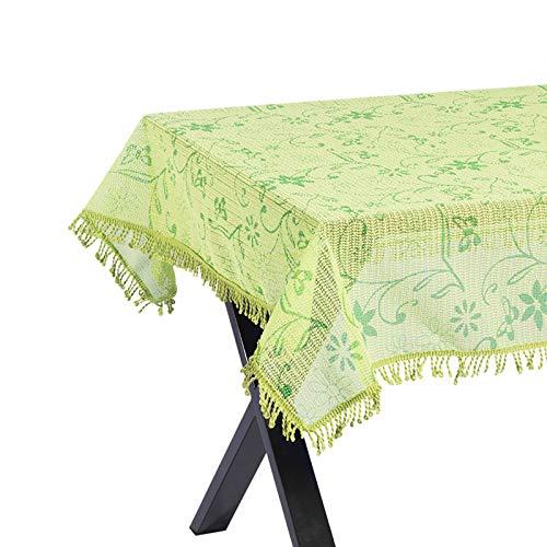 WOLTU Gartentischdecke Weichschaum Tischdecke mit Quaste geschäumt 3D Druck Wetterfest Witterungsbeständig rutschfest Outdoor eckig 110x140 cm Grün Bedruckt