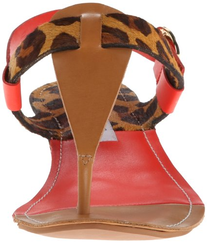 Diane Von Furstenberg Darling Femmes Cuir Tongs Natural, Leopard-Tangerine