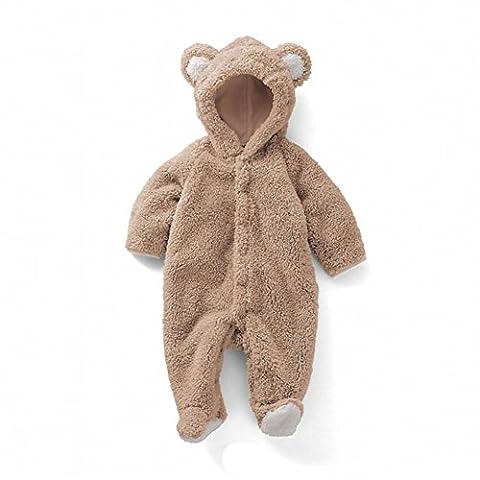 Eagsouni® Baby Mädchen und Jungen Bär Stil Overall Fleece Strampler Spielanzug Footed Schneeanzug Jumpsuit Kapuzen Kleidung Herbst & (Bären-kostüm Für Baby)
